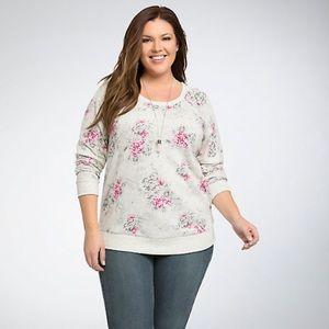 Torrid Floral Print Sweatshirt Pullover